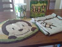 Adorable monkey shower curtain, rug, trashcan, &