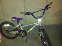 Silver/purple Good condition Tear in seat Make an