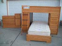 Kids bunk bed and dresser, comes with 2 mattresses. 1