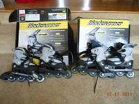 2 pair of kids Bladerunner in-line skates. One pair is