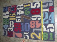 "Heavy PBK wool rug, 3 X 5, pattern is ""Numbers"" with"