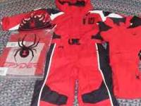 Kids size 5 journey suit, Black youth medium helmet,