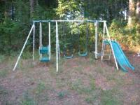 Kids swing set, in good condition. Teal and white. 1