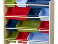 4 tier colorful kids toy shelf organizer. in excellent