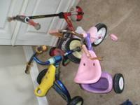 2 kids tricylcles and a 3 wheel scooter, $15 for all if
