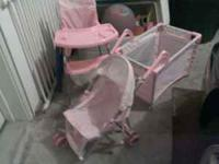 Kids stroller, high chair, bed for dolls. Great