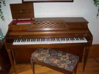 Spinet style electric/mechanical player piano with 44