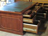 KIMBALL DOUBLE PEDESTAL LEATHER TOP DESK AND MATCHING