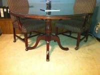 "Kimball 48"" Round Conference Table and 4 Chairs (glass"