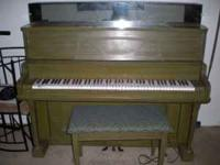 Kimball upright piano. Green washed color. Not sure how