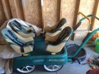 Up for sale is a used Kindervan four child stroller.