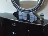 Black Curved Dresser with Mirror and 2 Nightstands