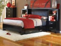 King Bed with Trundle Drawers in Black Was $750.00 Now