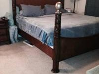 Beautiful detailed wood bedroom set including