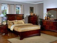 bed with a low profile footboard, 2 nightstands, eight