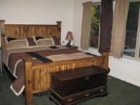 King Size Solid Wood Bed Rustic Style. Set includes