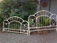 King size Beautiful Enamel and Brass Bed. Headboard and
