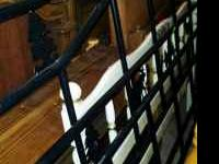King Size black metal bed frame with blue jc penny