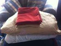 Red and Champagn Colored Pillow Cases, 4 total.