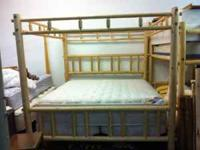 King Size Log bed frame with Pillow top mattress and