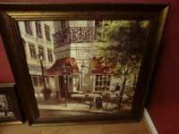 2 pieces of framed Kirkland's wall art with French Cafe