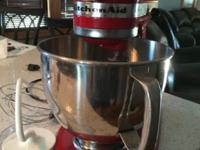 Red kitchen aid mixer with everything in picture This