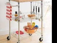 New TRINITY EcoStorage Kitchen Cart W/Bamboo Cutting