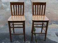 Two beautifully crafted, sturdy wood bar chairs ideal