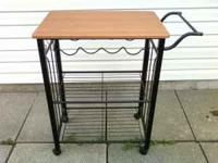 black metal kitchen / microwave cart with wooden top