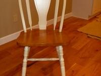 SIX KITCHEN CHAIRS. OFF WHITE OR CREAM WITH MAPLE WOOD