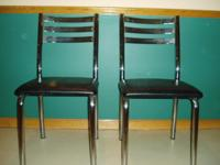 The 2 kitchen chairs are black & chrome, made in Canada