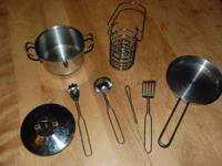 An assortment of necessary items for any toy kitchen.