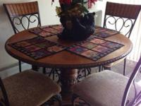 Wood and iron kitchen set 4 chairs included Good