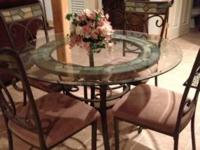 Glass table and 4 chair. Set Slate inserts in table