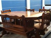 Kitchen Table with 4 chairs and 1 bench ( pine ) in