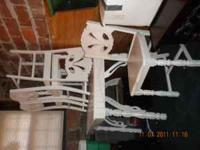 CALL/TEXT  WHITE WOOD KITCHEN TABLE WITH 4 CHAIRS