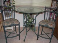 Wrought Iron Hunter Green Bistro Wine Table Set - $300