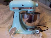 Kitchen Aid Cobalt Blue Stand Mixer With Attachments Used