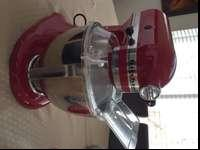 UsedKitchenaid mixerRed colorStainless bow