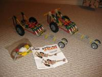 Two Knex racers and instructions. These can be taken