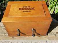 1905 solid oak kodak film tank coffee table piece put