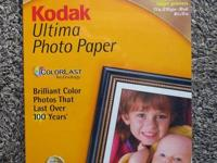 Professional grade inkjet photo paper:.  -Kodak Ultima,