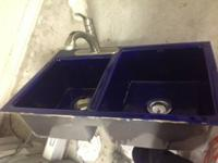Double Kitchen Sink Cobalt blue with Moen arc Kitchen
