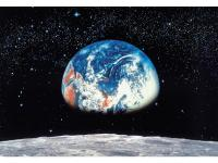 A photo mural of the earth from the moon. For a truly