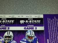 2 tickets to KSU vs Auburn Sept 18th at 6:30pm  Section