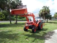 06 KUBOTA L 3830 HAS FRONT END LOADER, 4 WHEEL DRIVE,