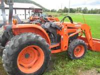 This Kubota L3430 is 4WD, hydro, is 35 hp. and has