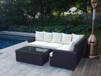 High end outdoor furniture that is still wrapped in the