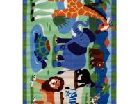 Zoo on the rug: giraffe, elephant, turtle, lion and