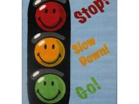Smiley faces that represent the color of the traffic